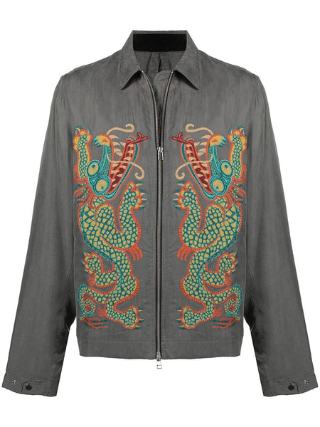 Dragon-Embroidered Shirt Jacket