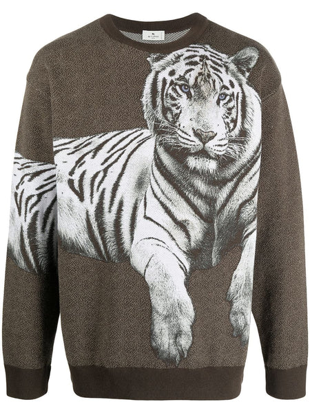 Tiger-Print Crew-Neck Sweatshirt