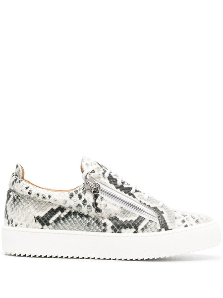 Python-Print Lace-Up Trainers