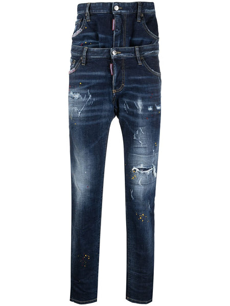 Double-Layer Regular-Fit Distressed Denim Jeans