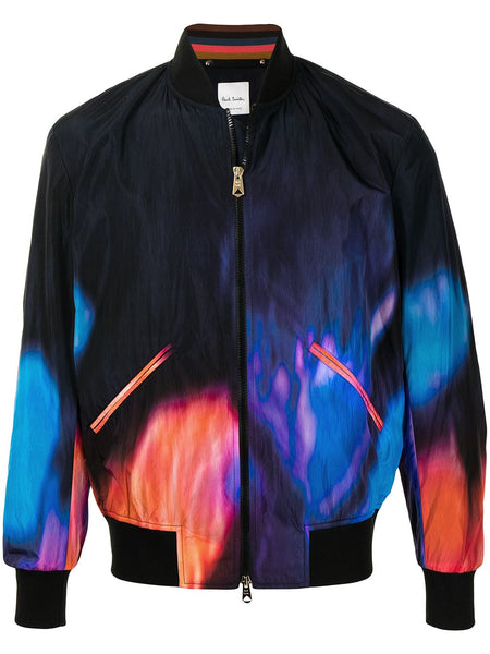 Abstract Fire Print Bomber Jacket