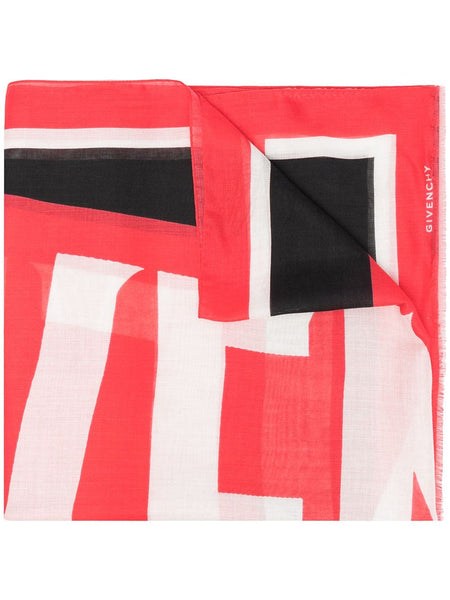 Colour-Block Logo Print Scarf