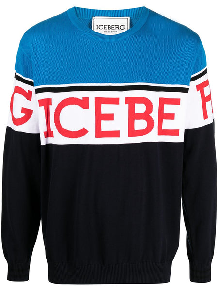 Logo-Embellished Colour-Block Jumper