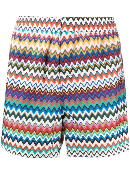 Zigzag-Print Swimming Shorts