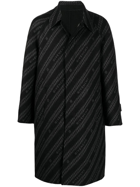 Logo-Print Reversible Wool Coat