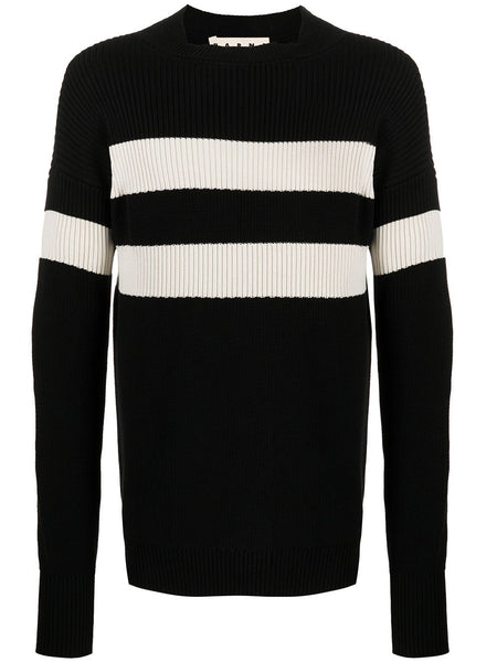 Contrast-Stripe Rib-Knit Jumper