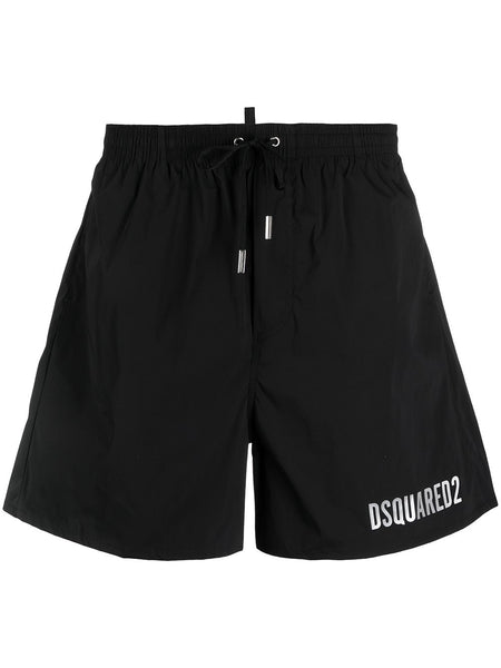 Icon Metallic-Logo Drawstring Swim Shorts