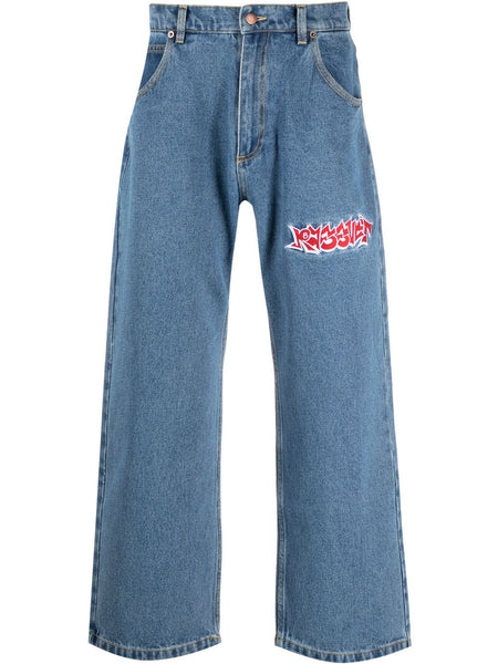 Embroidered Wide-Leg Jeans