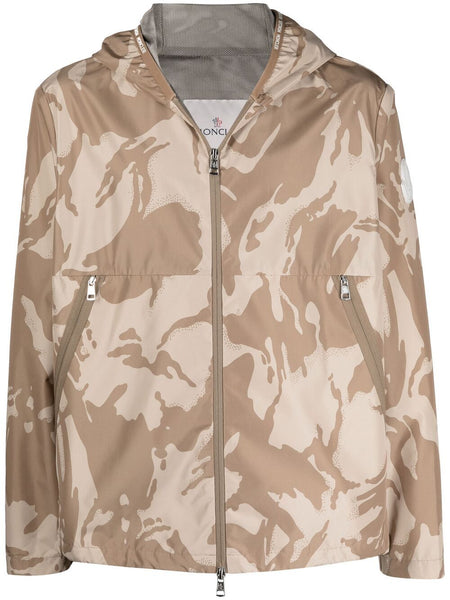 Camouflage-Print Hooded Jacket
