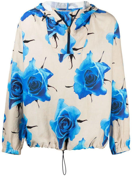 Monarch Rose-Print Hooded Jacket