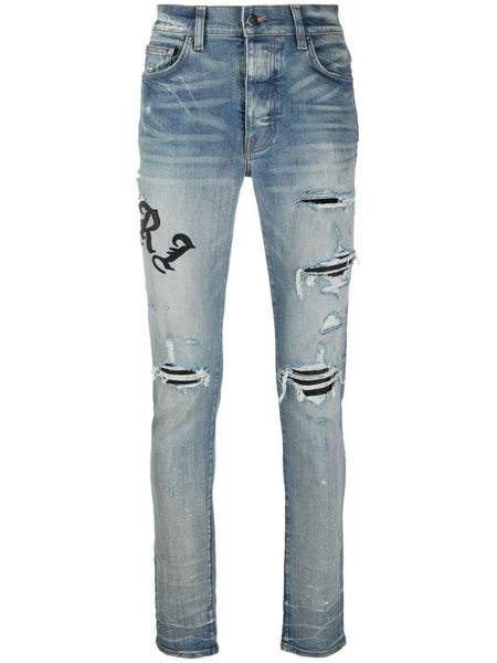 Embroidered-Logo Ripped-Detail Jeans