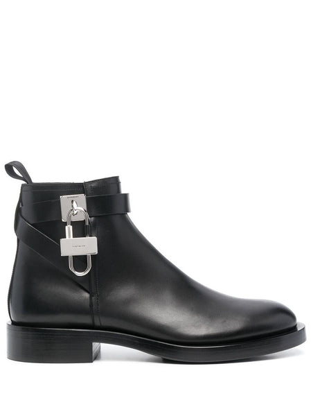 Padlock-Detail Ankle Boots