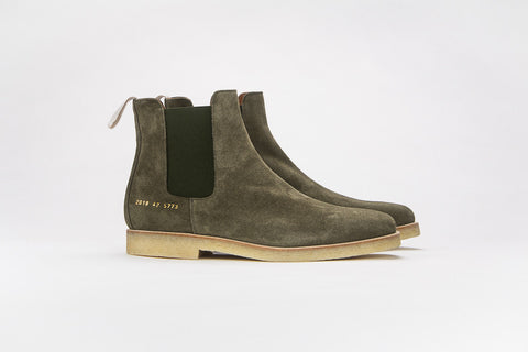 Common Projects Chelsea Boot Olive Suede 5773 - The Business Fashion