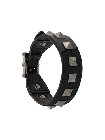 Valentino Rockstud Leather Camo Bracelet Black