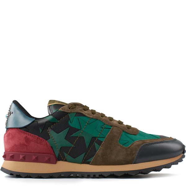 Valentino Camo Stars Rockrunner Sneakers Green - The Business Fashion - 1