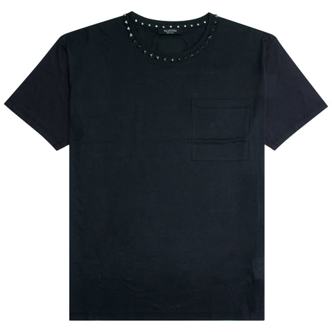 Valentino Rockstud Neck T-Shirt Black - The Business Fashion