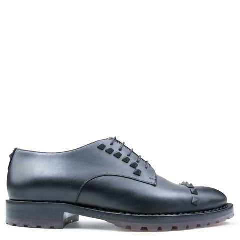Valentino Derby Rockstud Shoes Black - The Business Fashion - 1