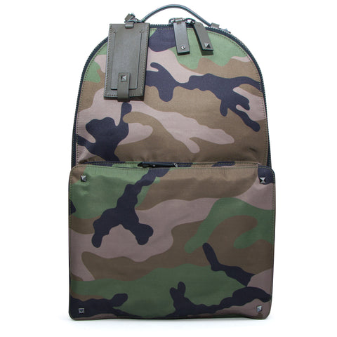 Valentino Camouflage Leather Strap Backpack Green - The Business Fashion - 1