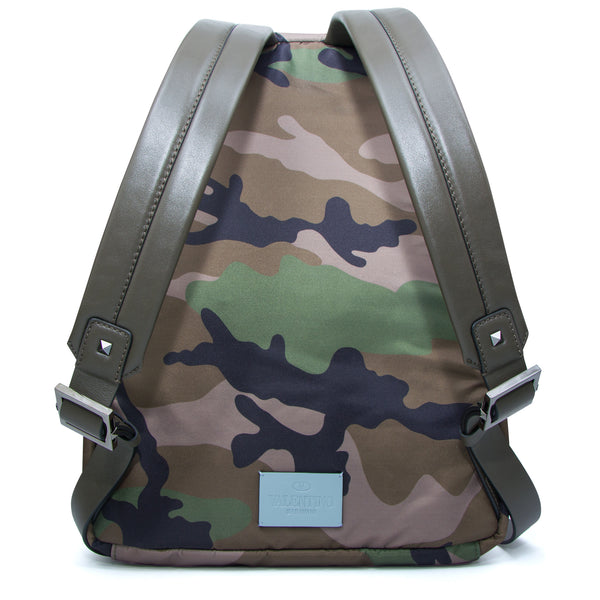 Valentino Camouflage Leather Strap Backpack Green - The Business Fashion - 2