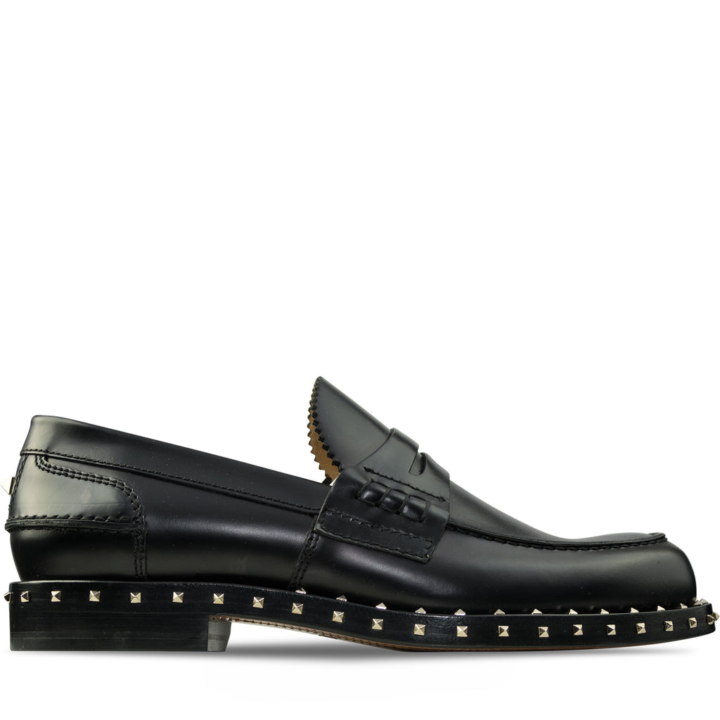 Valentino Penny Loafer Rockstud Shoes Black