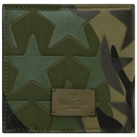 Valentino Star Camouflage Wallet With Coin Pocket Olive