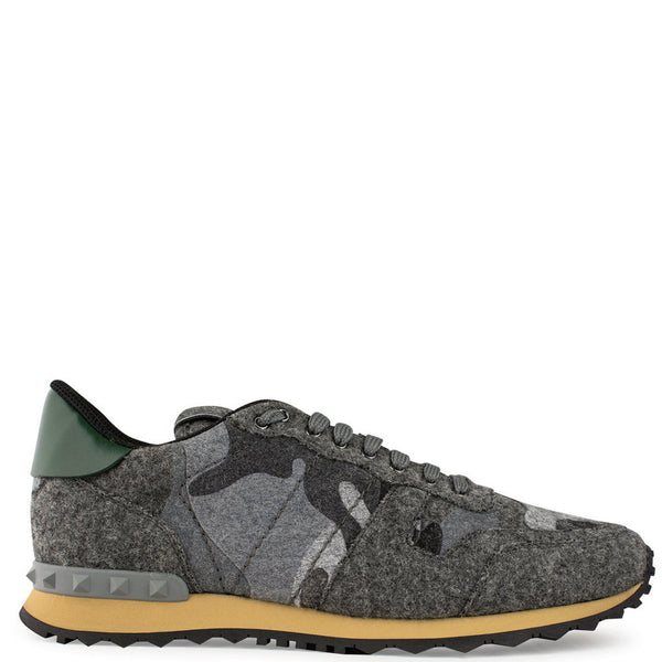 Valentino Camouflage Rockrunner Sneaker Grey Felt - The Business Fashion - 1