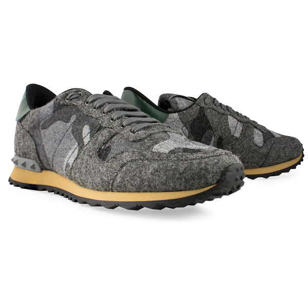 Valentino Camouflage Rockrunner Sneaker Grey Felt - The Business Fashion - 2