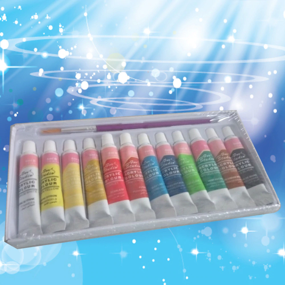 12 Color Acrylic Paints Set