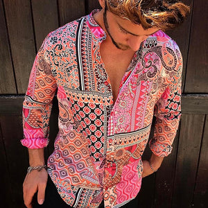 Men's Casual Vintage Printing Thin Section Blouse