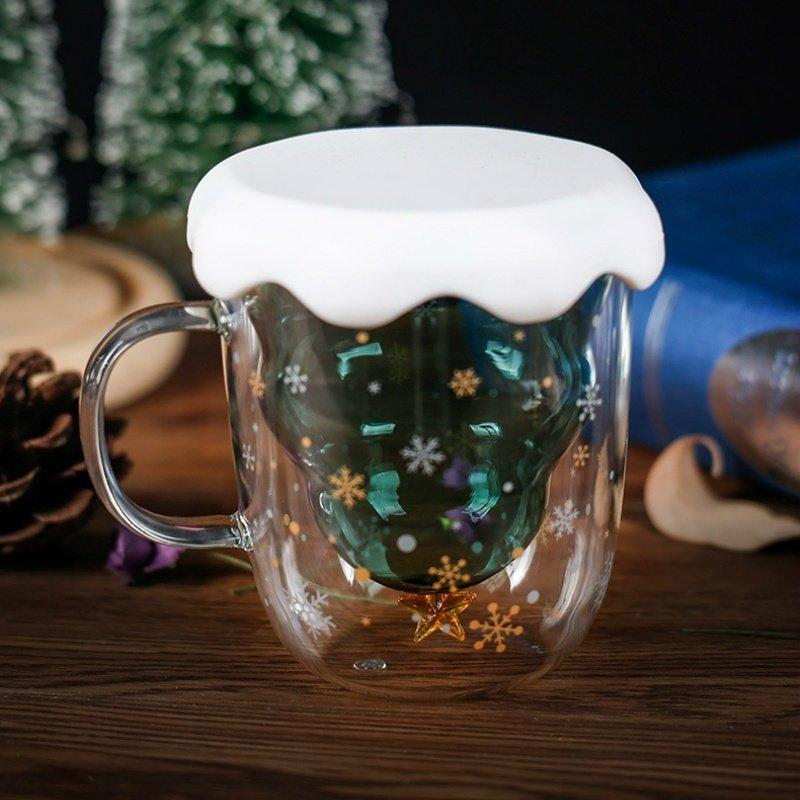 Christmas Tree Double Layer Glass Cup Thermally Insulated Cup Coffee Cup With lid