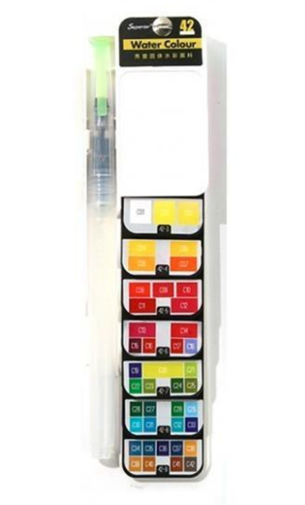 18/25/33/42 Colors Fan-shaped Watercolor Paint Set