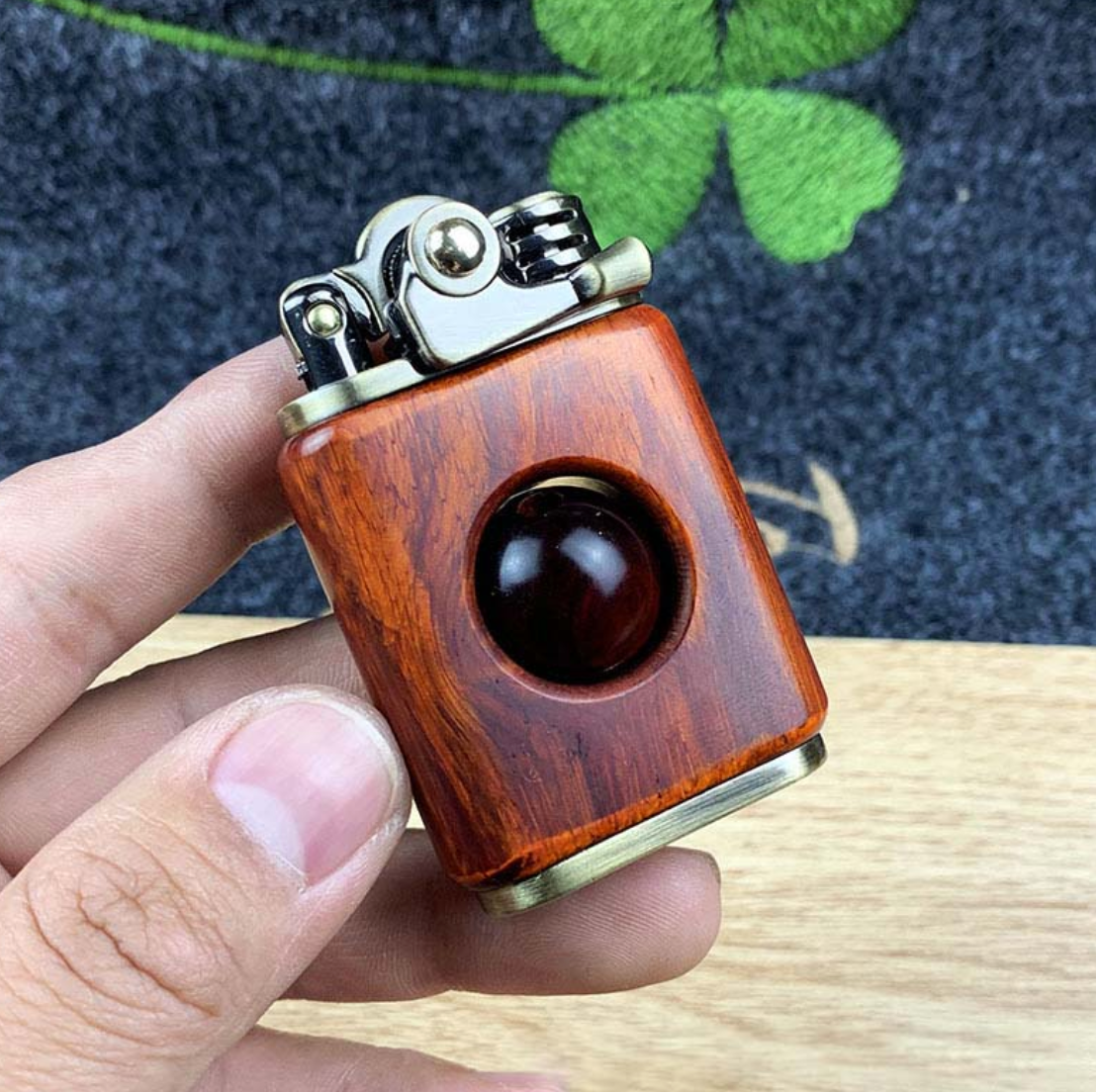 Rosewood handmade custom windproof kerosene to bead lighter