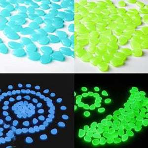Glow-In-The-Dark Luminous Garden Pebbles - 100pcs