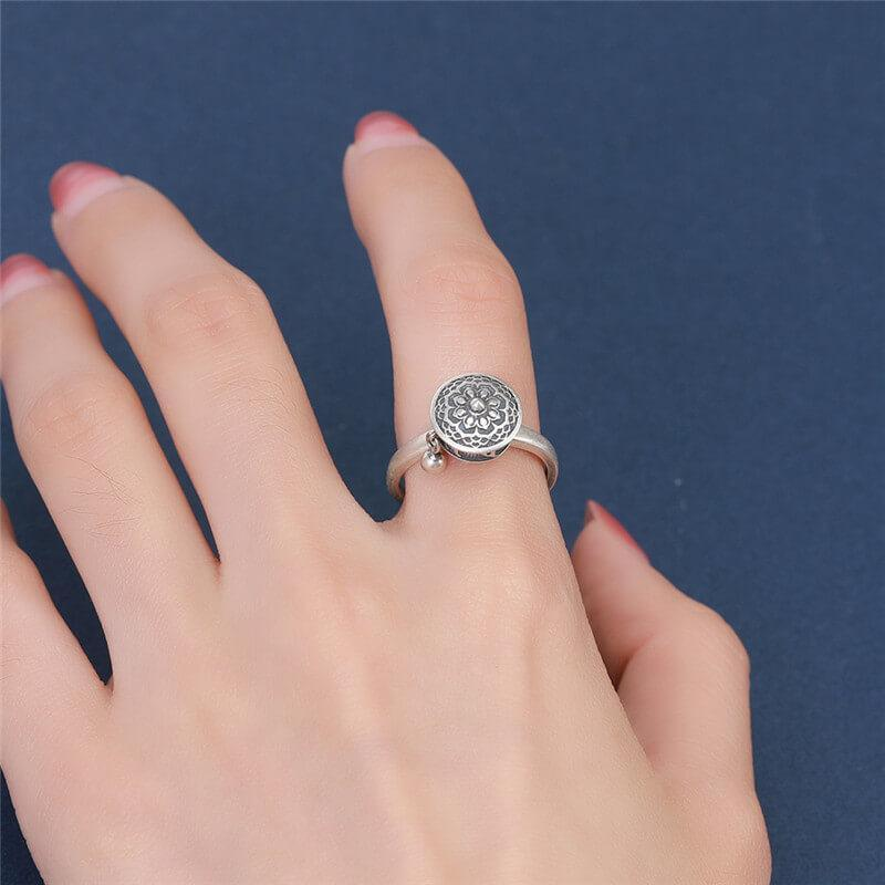 Spinning Buddhist Mantra Ring - 925 Sterling Silver