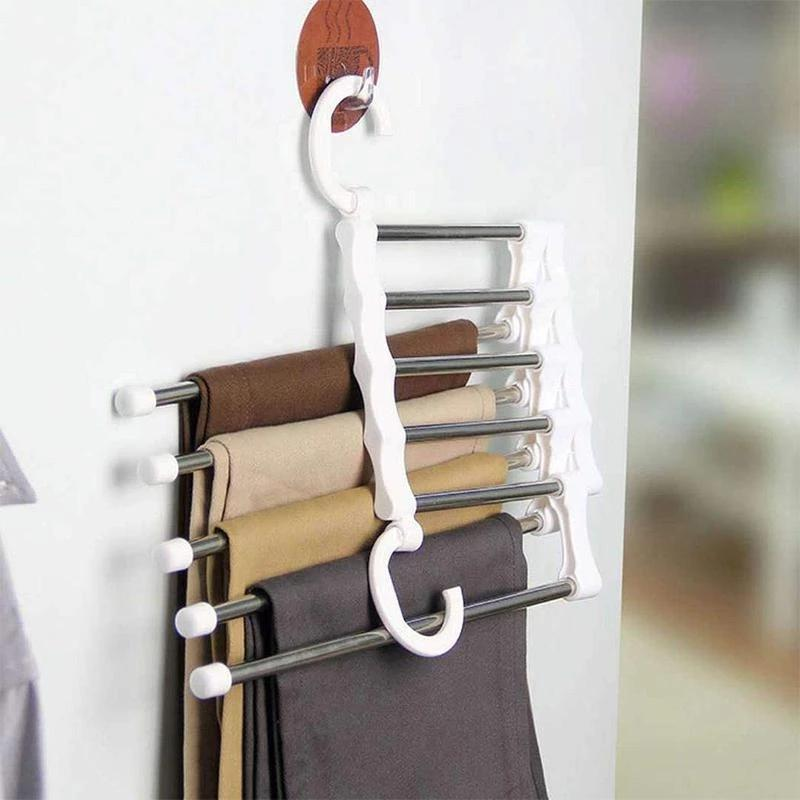 5-In-1 Portable Multifunctional Stainless Steel Closet Hanger