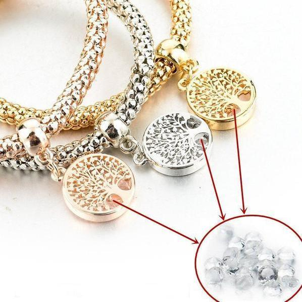Tree of Life Charm Bracelet with Austrian Crystals