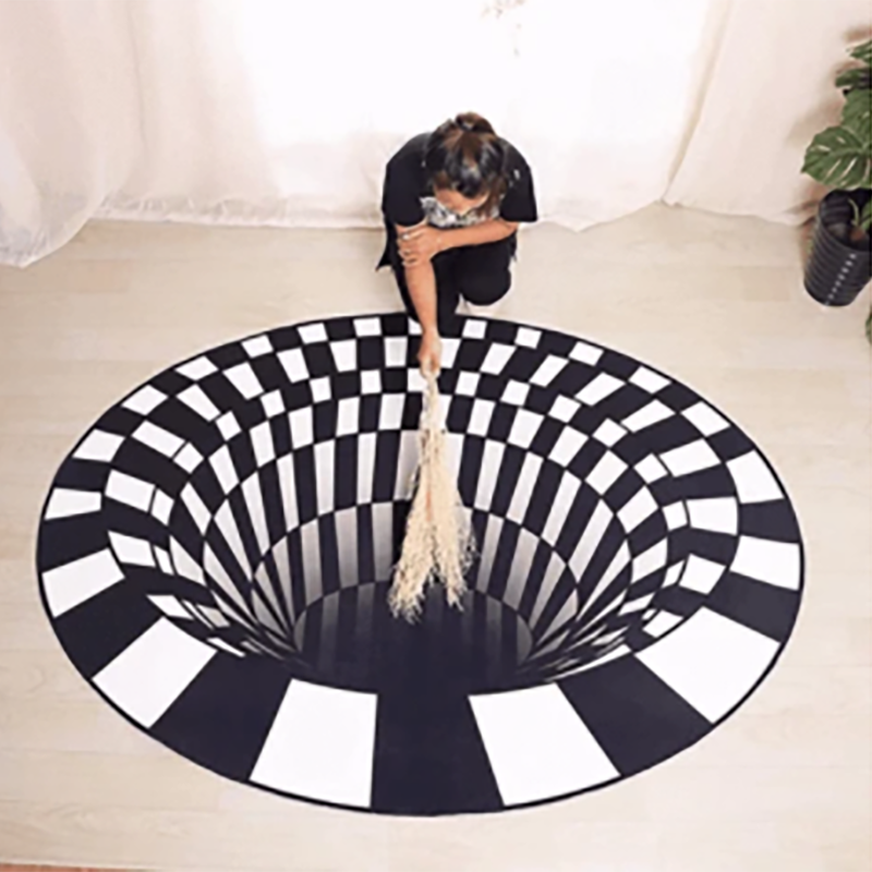 3D Vortex Illusion Rug Swirl Print Optical Illusion Carpet