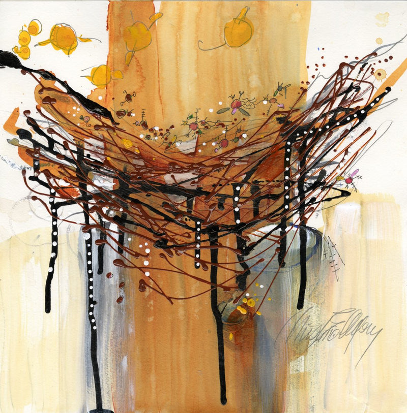 Critters and Yellow Birds Sharing a Nest By Christine Alfery 14 x 14 Watermedia on paper