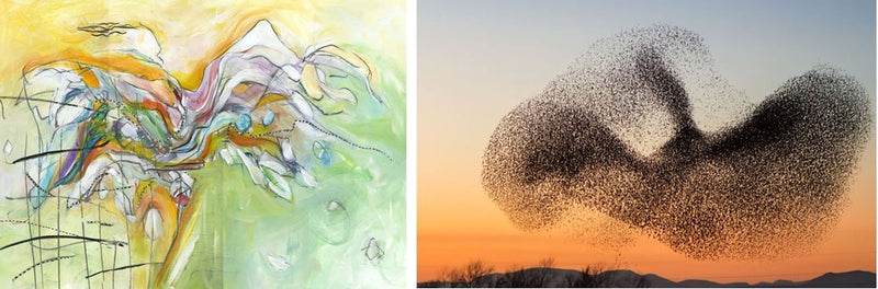 Her Cape Caught The Wind (2019) by Christine Alfery and a Starling Murmuration