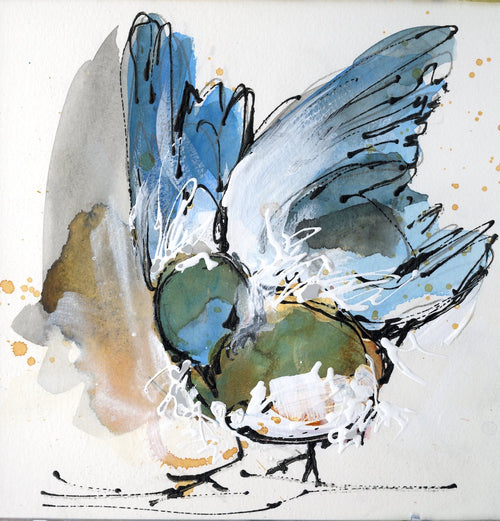 Water media painting, Blue Bird II by Christine Alfery