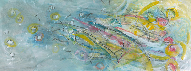Water media painting, Bent Over Reeds in the Stream by Christine Alfery