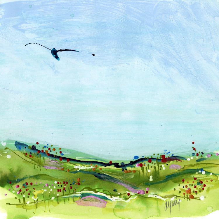 Water media painting, Bird in the Air by Christine Alfery