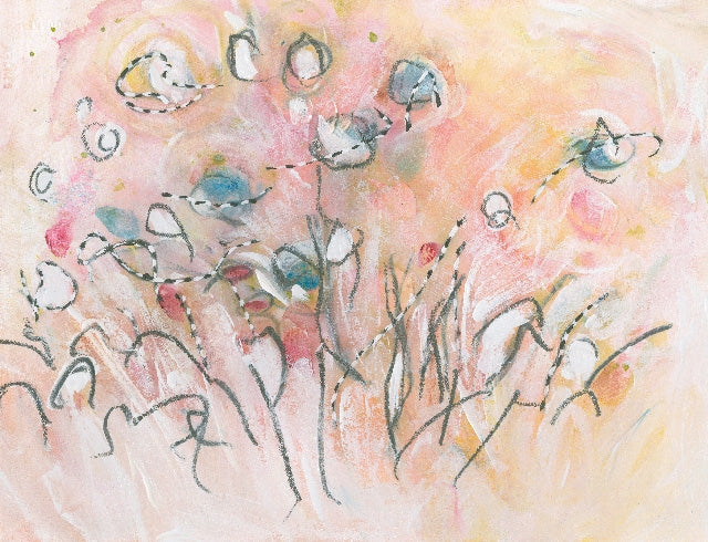 Water media painting, Butterflies in the Garden by Christine Alfery