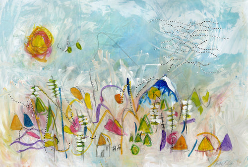 Water media painting, Cabin with Songbirds by Christine Alfery