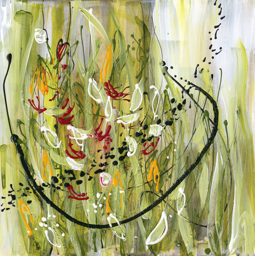 Water media painting, Channel 5 Flower by Christine Aflery