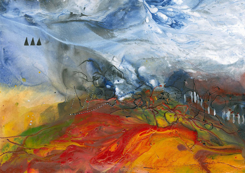 Water media painting, Chasing the Wind by Christine Alfery