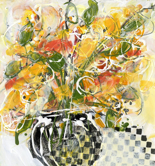 Water media painting, Checkered Vase by Christine Alfery