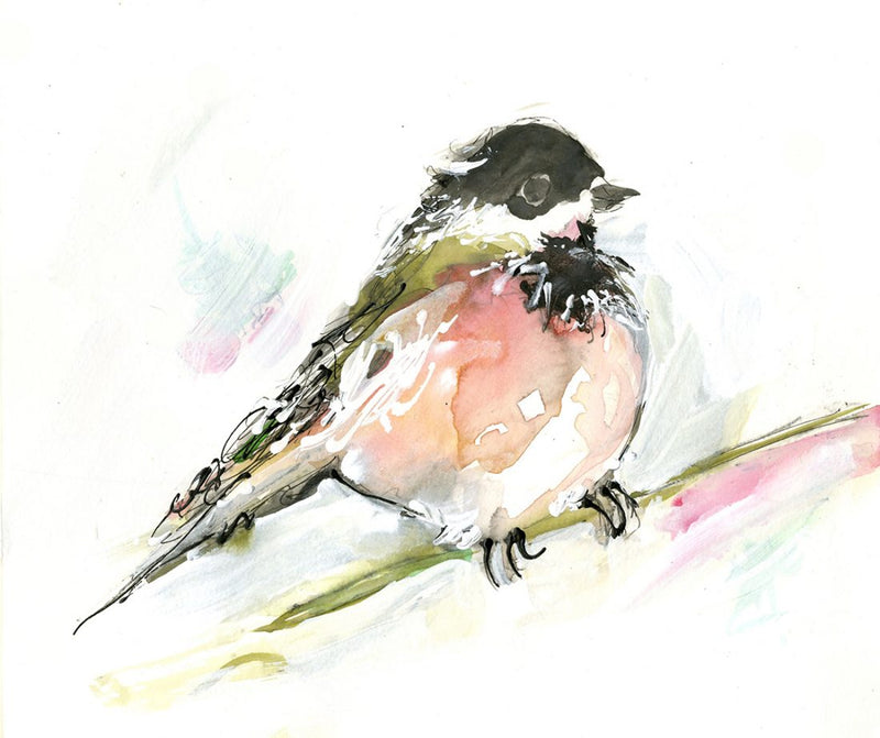 Water media painting, Chickadee  by Christine Alfery