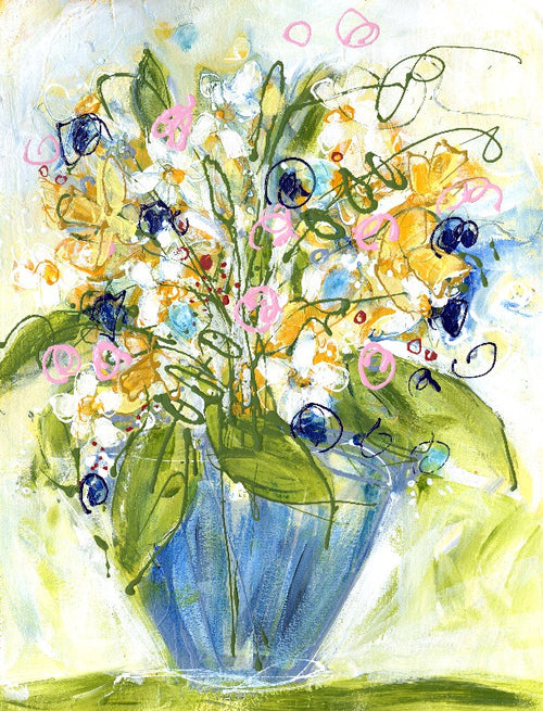 Water media painting, Daisies, Daffodils and Spring by Christine Alfery