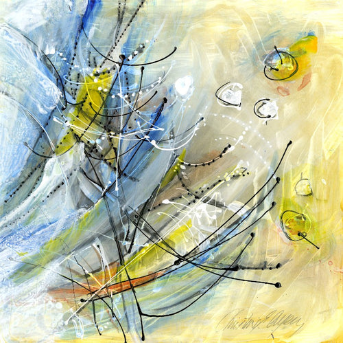 Water media painting, The Silence at the Feeder by Christine Alfery